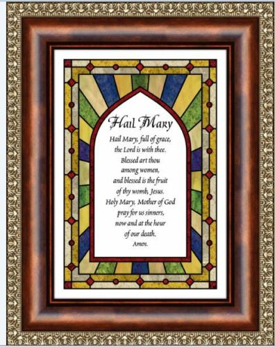 """7/"""" W x 9/"""" H Hail Mary  full of grace the Lord is with . Ornate Framed picture"""