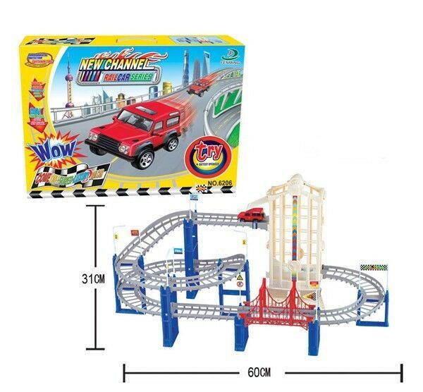 2+1 Electric Rail Autos Spiral Track Educational Kinder DIY Spielzeug Playsets Assembly