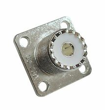 4 High Quality Silver Teflon Four Hole Flange Mount Type SO239 UHF Connectors