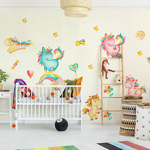 wandtattoo einhorn aquarell kinderzimmer set wandaufkleber baby wanddeko deko ebay. Black Bedroom Furniture Sets. Home Design Ideas