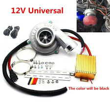 Electric Turbo Supercharger Kit  Turbocharger Air Filter Intake for 12V Car Bike