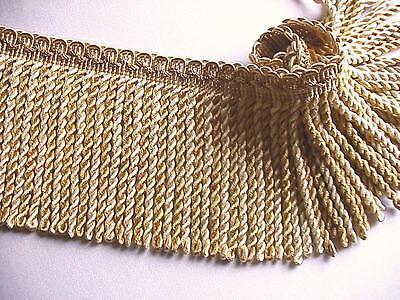 """2 Yards or More of 5"""" Bullion Fringe Trim ~ 2 Shades of Gold ~ Upholstery Drapes"""