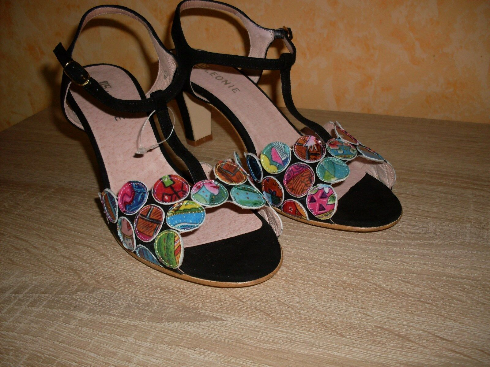 Leonie 40 Sandalette NEU Gr. 40 Leonie in schwarz / bunt & Nubuk Leder ein UNIKAT be85f5