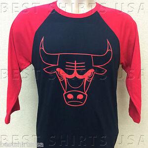 Chicago bulls see red bull head logo 3 4 sleeve raglan for Red bull logo shirt