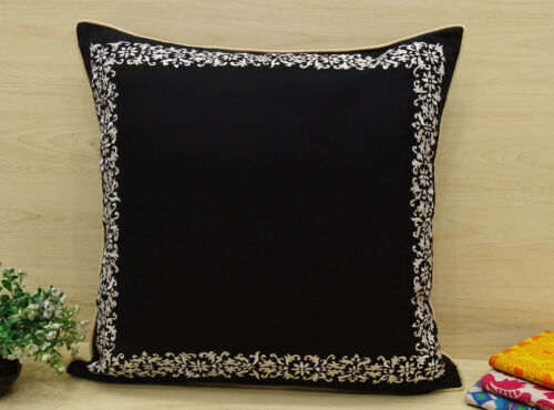 Pillow Cover Cotton Black Square Cushion Cover Floral Bed Pillow Case
