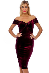 '50 New Party Evening Midi Vintage Marilyn anni Chic Dress Pencil velluto in Claret xxpwS4
