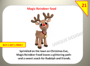 42 Merry Christmas Reindeer Labels Stickers sweet Cones