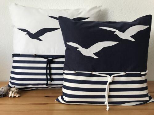 1Maritime Kissenhülle*Kissenbezug Landhausstil*Möwen blau//weiß gestreift 50x50cm