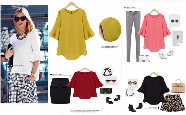 Summer Concise Women Tops Solid 3/4 Sleeve Loose Chiffon Versatile Shirt Blouse