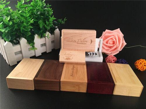 5pcs//lot free custom engrave logo wooden usb box usb2.0//3.0 flash pen drive