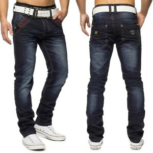 Herren-Vintage-Denim-Used-Waschung-Jeans-Hose-stretch-Knopfleiste-Regular-Fit