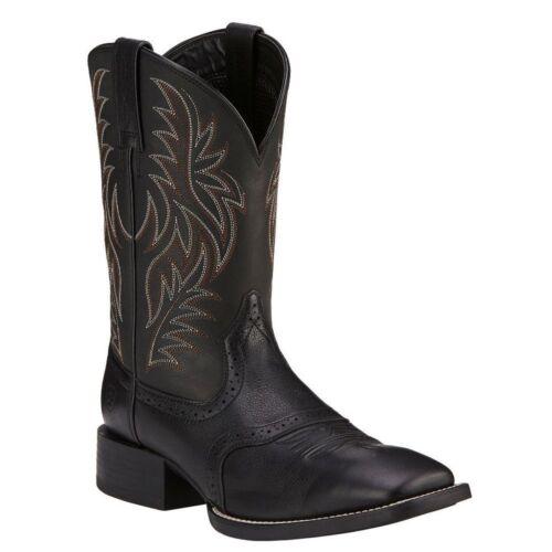 10016292 Ariat Homme Sport en Cuir Large Bout Carré Western Cowboy Boot Noir Nouveau