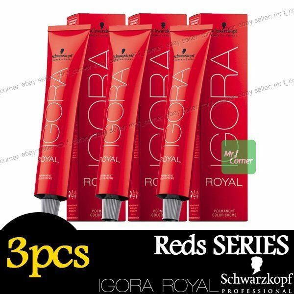 3 x Schwarzkopf IGORA ROYAL Permanent Colour Hair Dye 60ml Reds