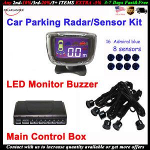 Details About Car Parking Radar Kit Main Control Box 8 Blue Sensors Led Monitor Buzzer Backup