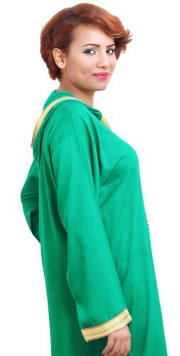 Moroccan Cotton Djelaba Caftan Long Sleeve Kaftan Abaya Hood Med to Large Green
