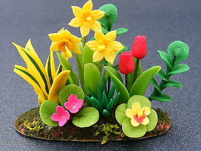 1:12 Scala Narcisi & Tulipani Casa Delle Bambole Miniatura Accessorio Letto Flower Garden-mostra Il Titolo Originale