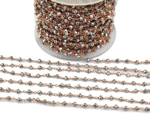 Ch00 Round Black Pyrite Rose Gold Plated Beaded Rosary Chain Making DIY Jewelry