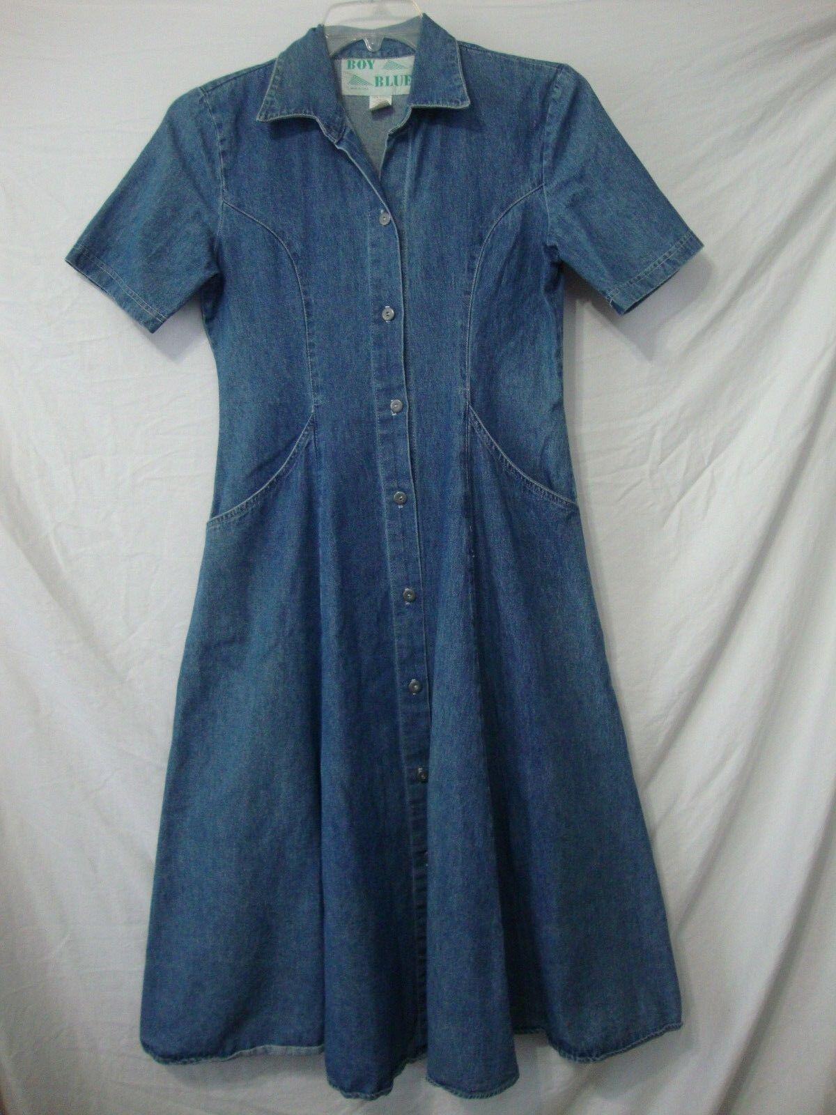 Vtg 80s Boy bluee Denim Dress Small 100% Cotton Made USA Long Length Button Front