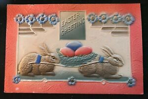 Colorful-Bunny-Rabbits-with-Eggs-Antique-Airbrushed-Easter-Postcard-s253
