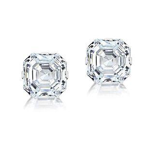 a1c09a9108143 Details about 14K White Gold 6mm Asscher-Cut Cubic Zirconia Stud Earrings