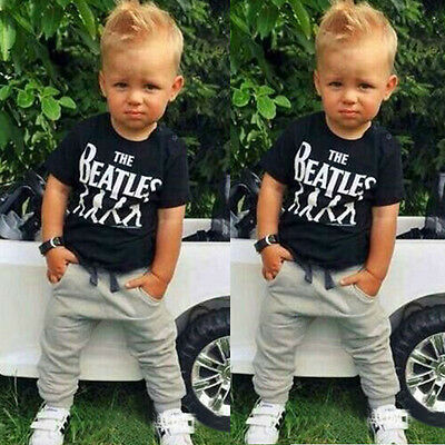 Kids Baby Boys Summer Casual Sportswear Cotton T-shirt + Pant Outfits 1-6Y