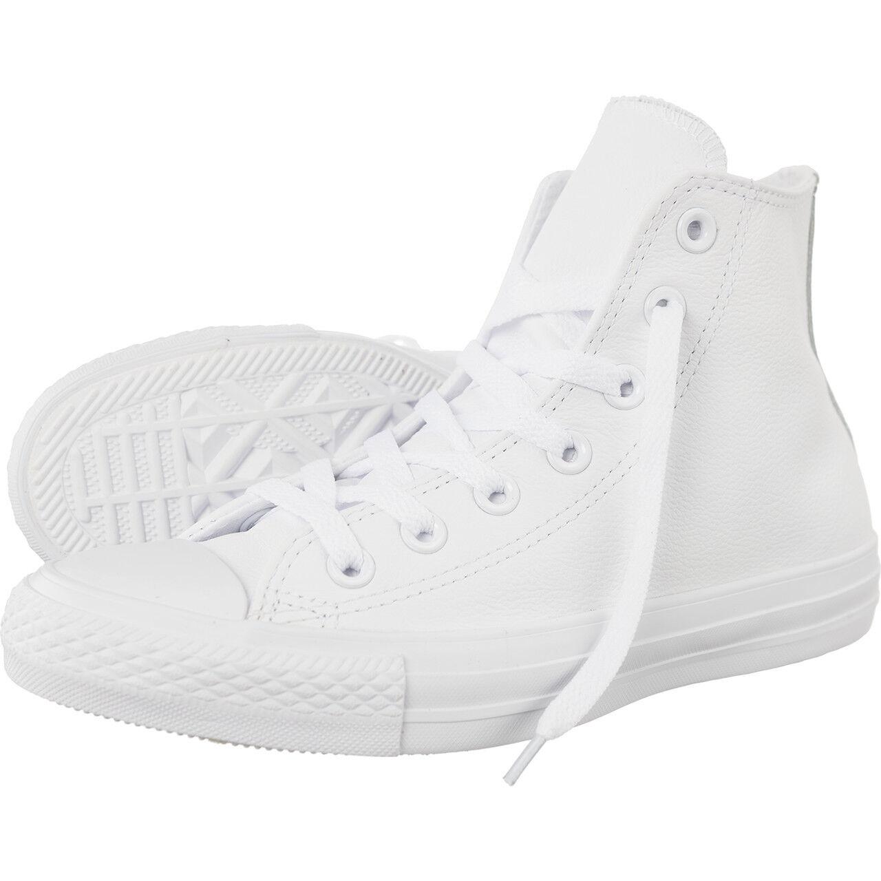 Nuevo Converse Blanco Chuck Taylor All Star Blanco Converse Cuero Mono Alto Zapatos  para hombre 1T406 ff6b3f
