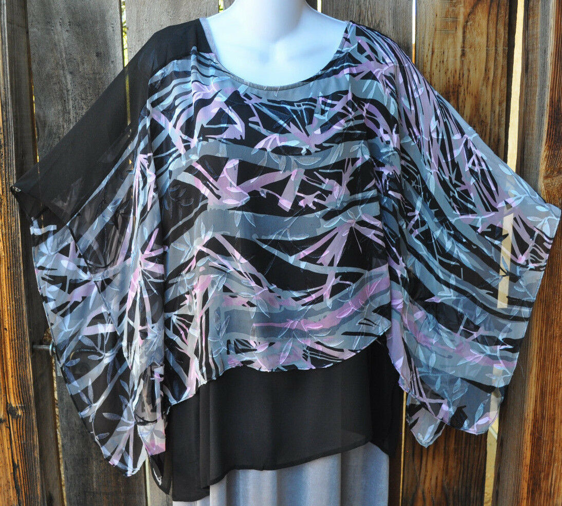 HAND PAINTED ABSTRACT SILK ART TO WEAR LINED TUNIC BY SIMPLY SILK,ONE Größe