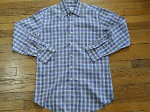 Mens-Peter-Millar-Long-Sleeve-Dress-Shirt-Medium-Plaid-M-Casual-Button-Front