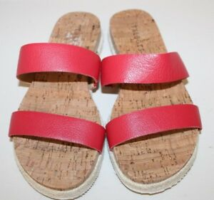 Talbots-Womens-Sandal-Shoes-Sz-7-5-M-Cork-Espadrilles-Red-Leather-Wedge-Slide