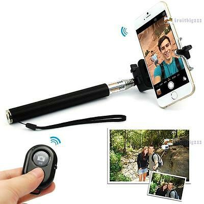 Extendable Handheld Selfie  Monopod + Bluetooth Shutter For iPhone 4S 5S 6 6+ FB