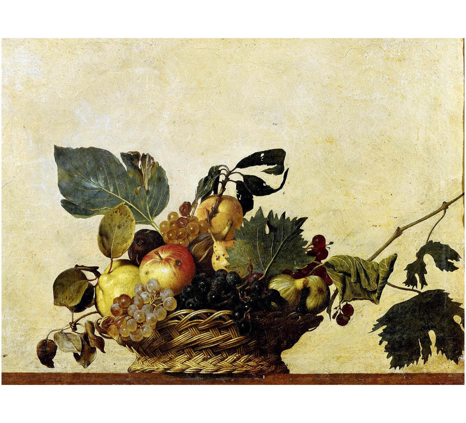 Quadro su Pannello in Legno MDF Caravaggio Canestra di frutta