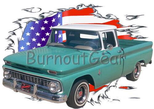 1963 Green Chevy Pickup Truck b Custom Hot Rod USAT T-Shirt 63 Muscle Car Tees