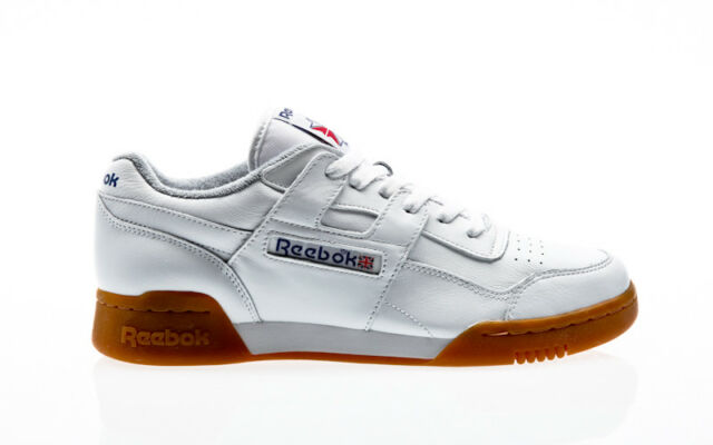 44dcc527221 Reebok Workout Plus Trainers in White Gum Sole H Strap Soft Leather ...