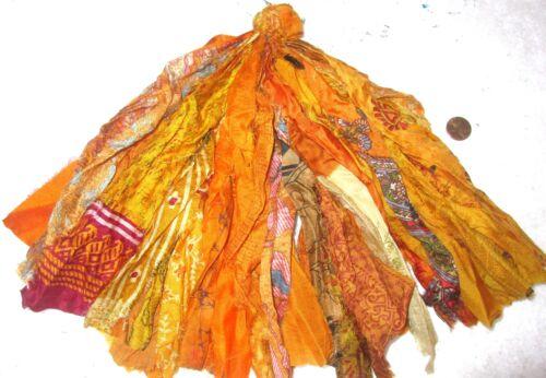 "LOT PURE SILK Vintage Sari TASSELS JOURNAL 50 STRANDS 8/"" Golden #ABFQK"