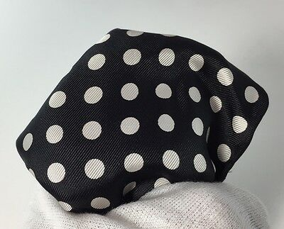 NWT Beautiful Men's Made in Italy Pocket Square Hankerchief $85 Black/White Dots