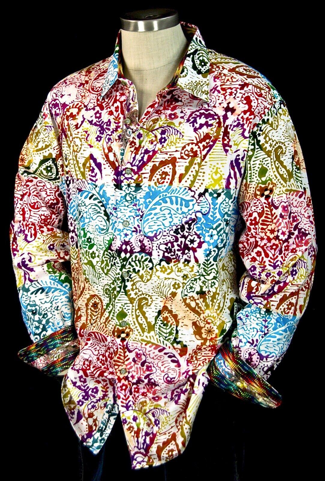 Robert Graham  Zelandia  NWT  colorful Floral Batik Sports Shirt Medium