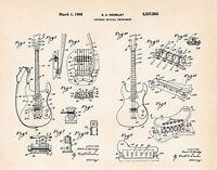 1966 Mosrite Guitars Mark One Semie Moseley 1 Patent Guitar Art Print Gifts
