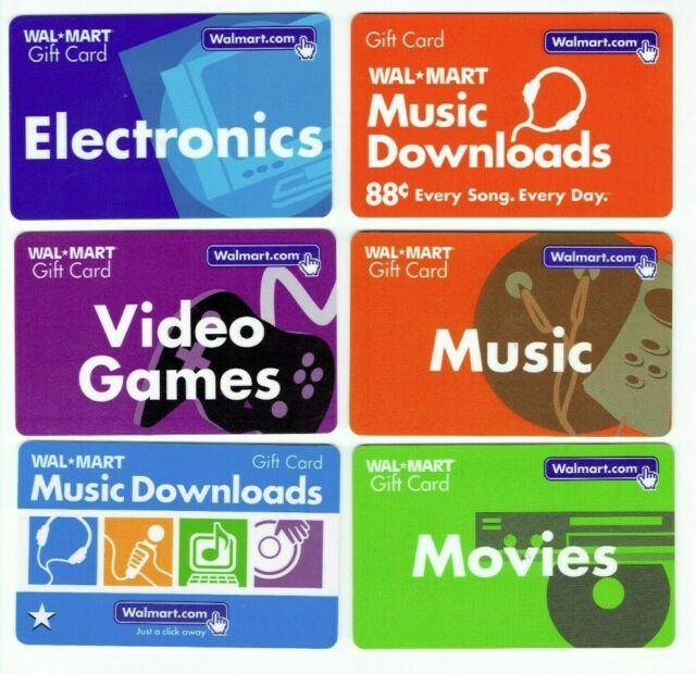 Walmart Gift Card LOT of 6 - Video Games / Movies / Electronics - Older No Value