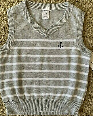 Carter/'s Knit Sweater Vest 3 24 M  Gray White Stripe Anchor NWT