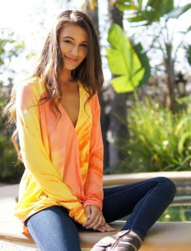 Hale Bob Orange Tie Dye Wrap TopLong Sleeve XS S M L 6JAL2913
