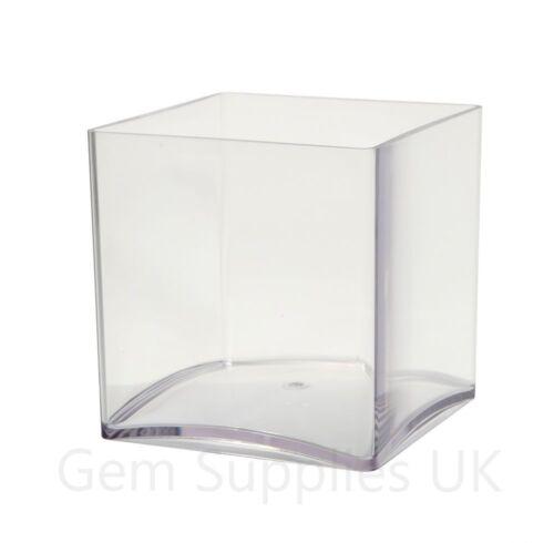 """2 x 15cm³ INERRA® Clear Acrylic Cube Vases Plastic Square Container 6/"""""""