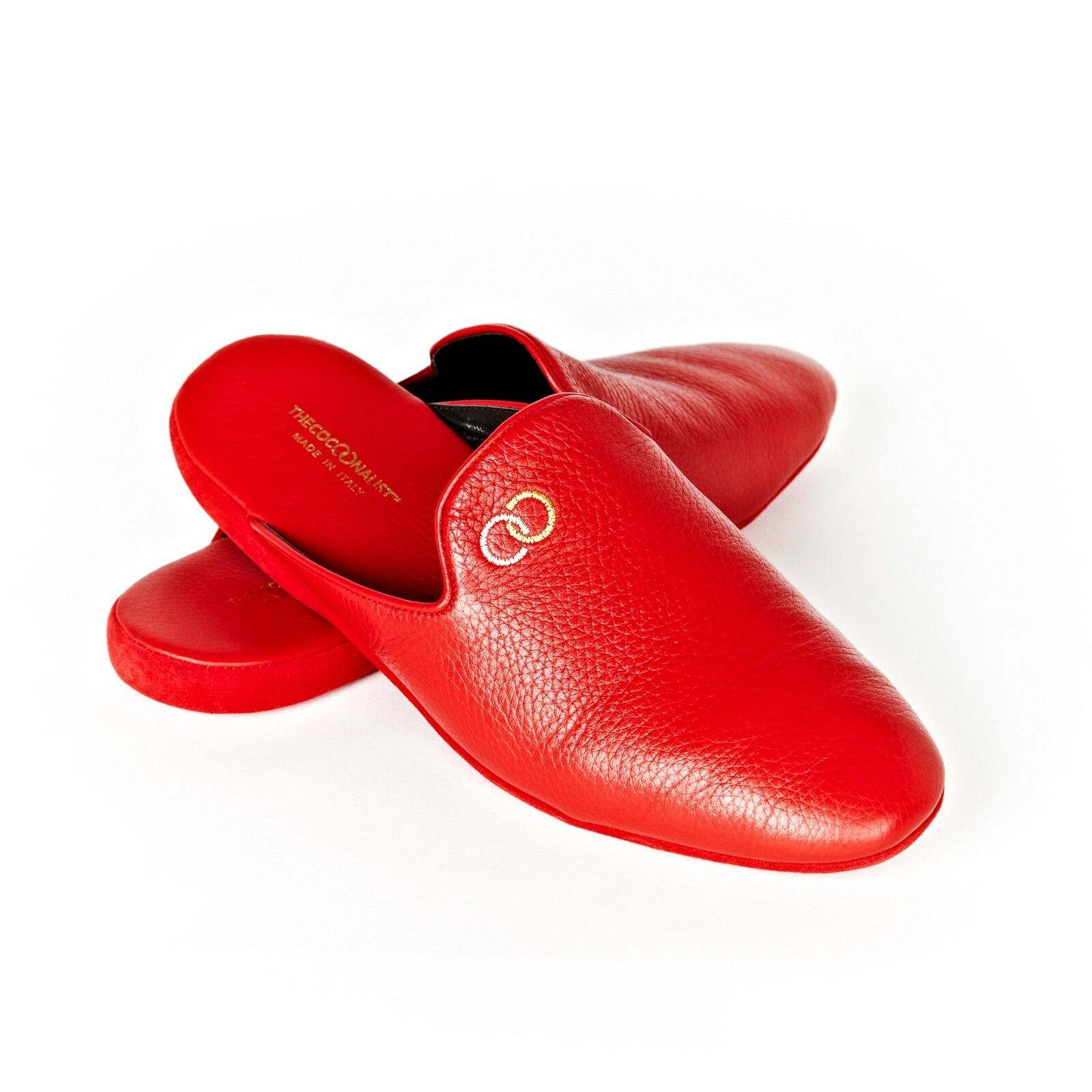 Slippers Mules cuir de CERF  rouge - Taille 45