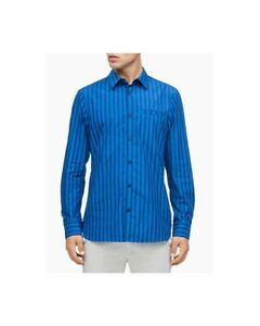 CALVIN-KLEIN-MENS-SIZE-SMALL-LONG-SLEEVE-FRENCH-PLACKET-BOLD-STRIPE-SHIRT