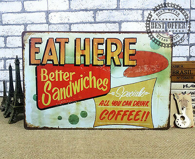Tin Sign Vintage Retro Metal Bar Cafe Wall Decor Poster Eat Here Sandwich coffee