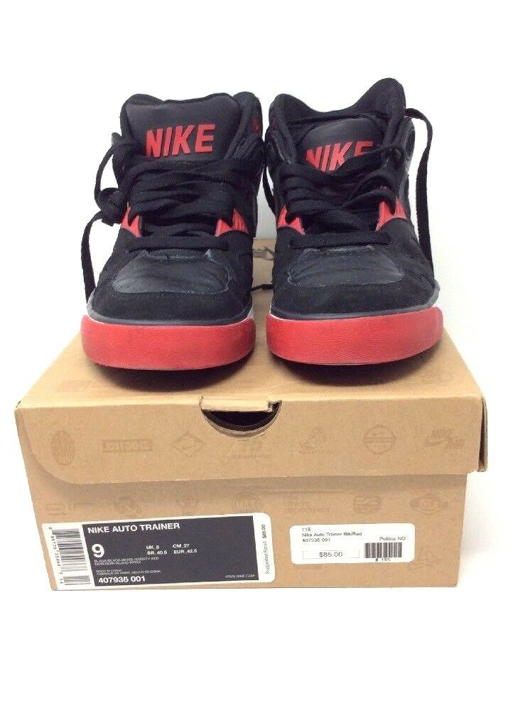 Nike Auto Trainer Black White Red 407935-001 Leather Dunk Air Size 9