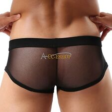 Men Stretch Underwear Triangle Pouch Mesh Transparent Underpants Boxer Brief XXL