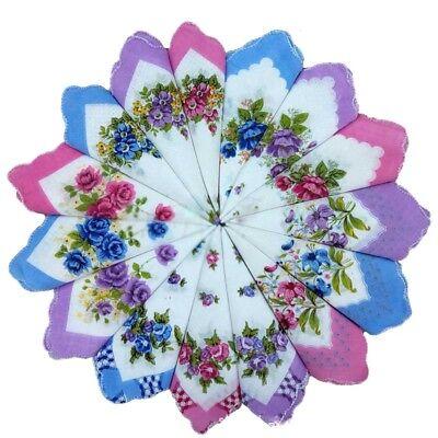Lot Of 6 Pcs Women Cotton Quadrate Floral Embroidered Child Handkerchief Hankie