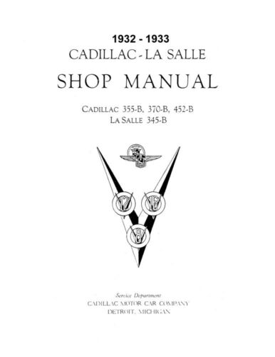 1933 Cadillac LaSalle 355C Service Shop Repair Manual Engine Drivetrain Wiring