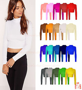 WOMENS-TURTLE-NECK-CROP-LADIES-LONG-SLEEVE-PLAIN-POLO-SHORT-STRETCH-TOP-UK-8-14