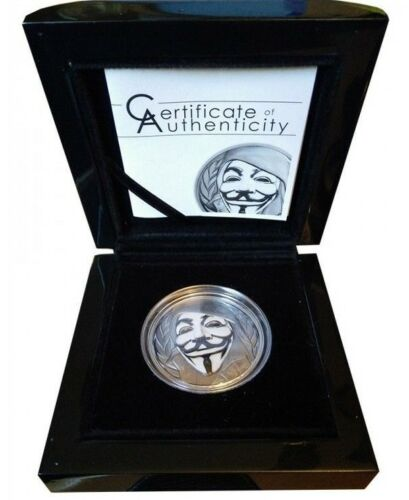 Cook Islands 2016 $5 Anonymous  V for Vendetta Guy Fawkes 1oz .999 Ag 999 Minted
